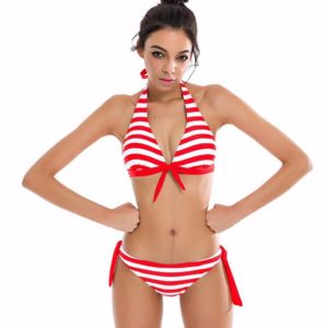 Sexy Bikini Set Low Waist Striped Swimsuit