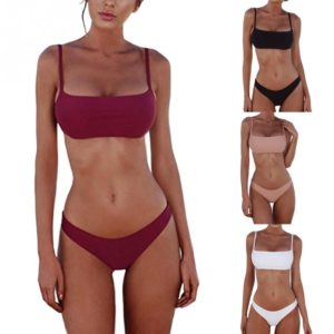 Simple Square Neck Bandeau Bikini