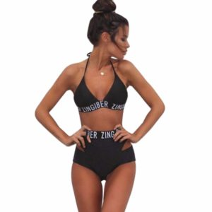High Waist Cutout Bikini with White Zingiber Text