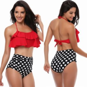 Layered Ruffle Bikini with High Waisted Bottoms