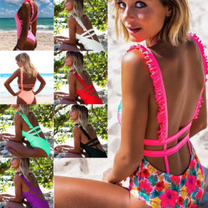 Deep V Neck Ruffle Strap One Piece Swimsuit