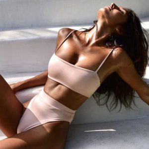 Solid High Waisted Square Neck Bikini