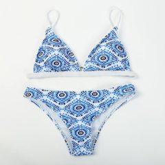 Blue and White Boho Floral Bikini
