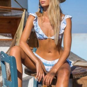 Blue and White Floral Ruffle Bikini