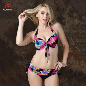 Plus Size Butterfly Print Tie Front Bikini