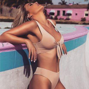 Solid ColoRed Tie Front Bikini