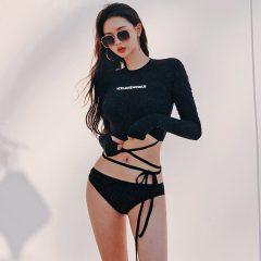 Long Sleeve Crop Top Wrap Around Bikini