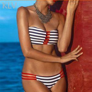 Striped Cutout Bandeau Bikini