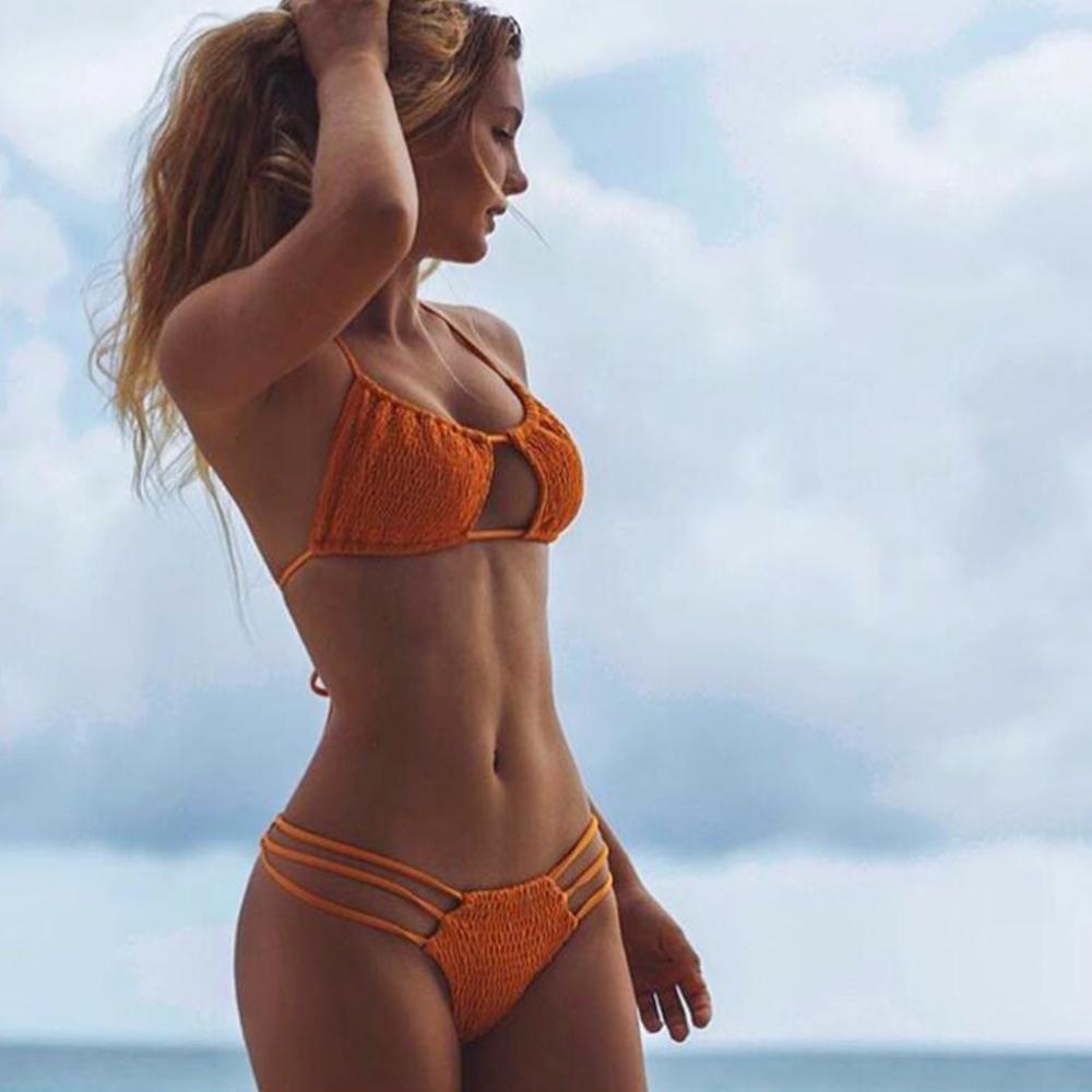 Sexy Push up Bikini with waist strings Orange