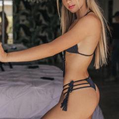 Black Front Tie Halter Top Sexy Brazilian Bottoms 2
