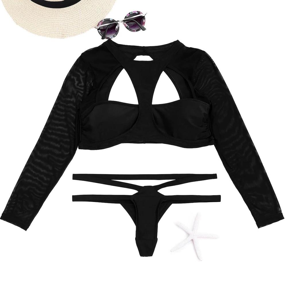 Black Long sleeves Backless High Neck Cut out Thong Bikini 5