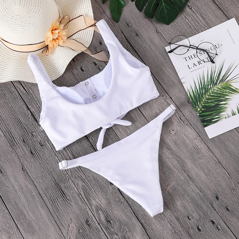 Button Front Knotted Bikini 15