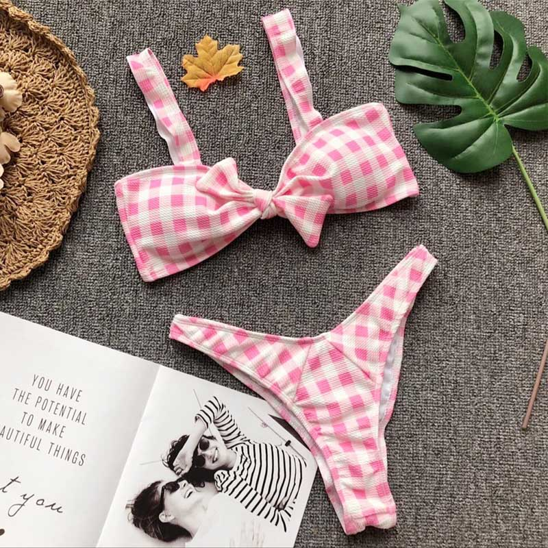 Gingham Print Bow Bikini with Ruffles 14