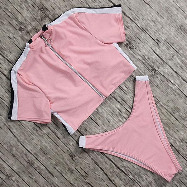 High Waist Zipper Bikini with Collar pink