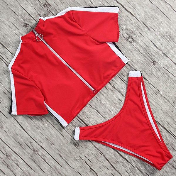 High Waist Zipper Bikini with Collar red