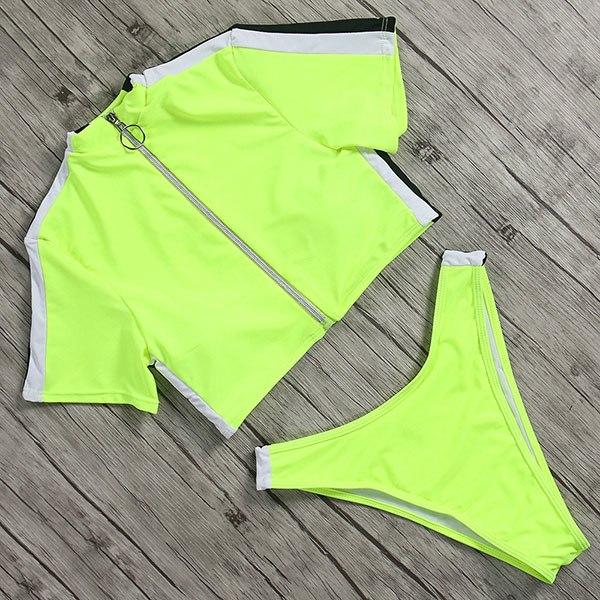 High Waist Zipper Bikini with Collar yellow