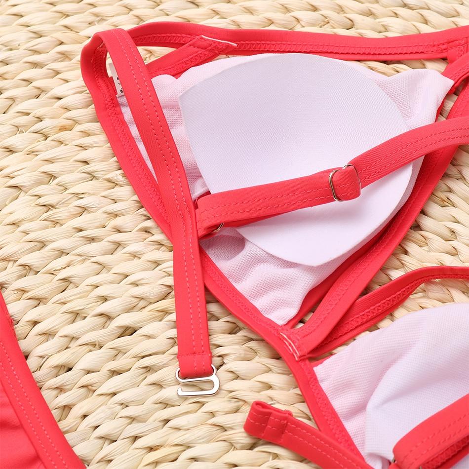 High Waisted Cage Bikini Pink Closeup