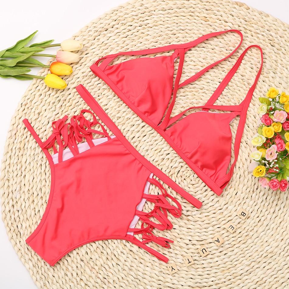 High Waisted Cage Bikini Pink Flat