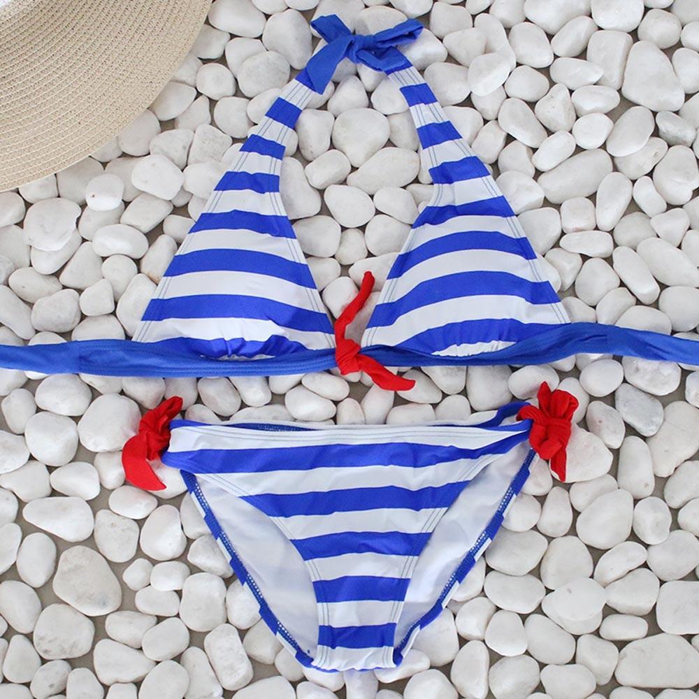 Nautical Striped Tie Front Bikini Blue Close