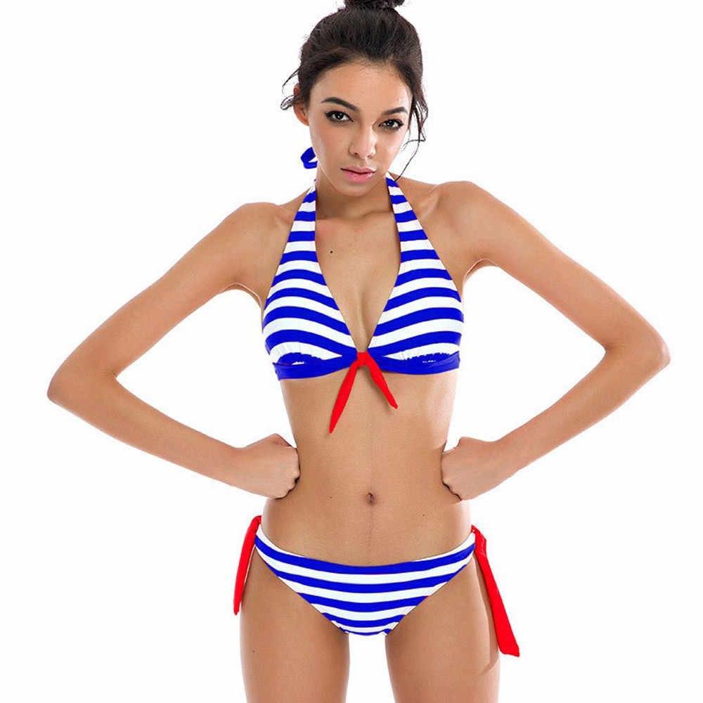 Nautical Striped Tie Front Bikini Blue Front