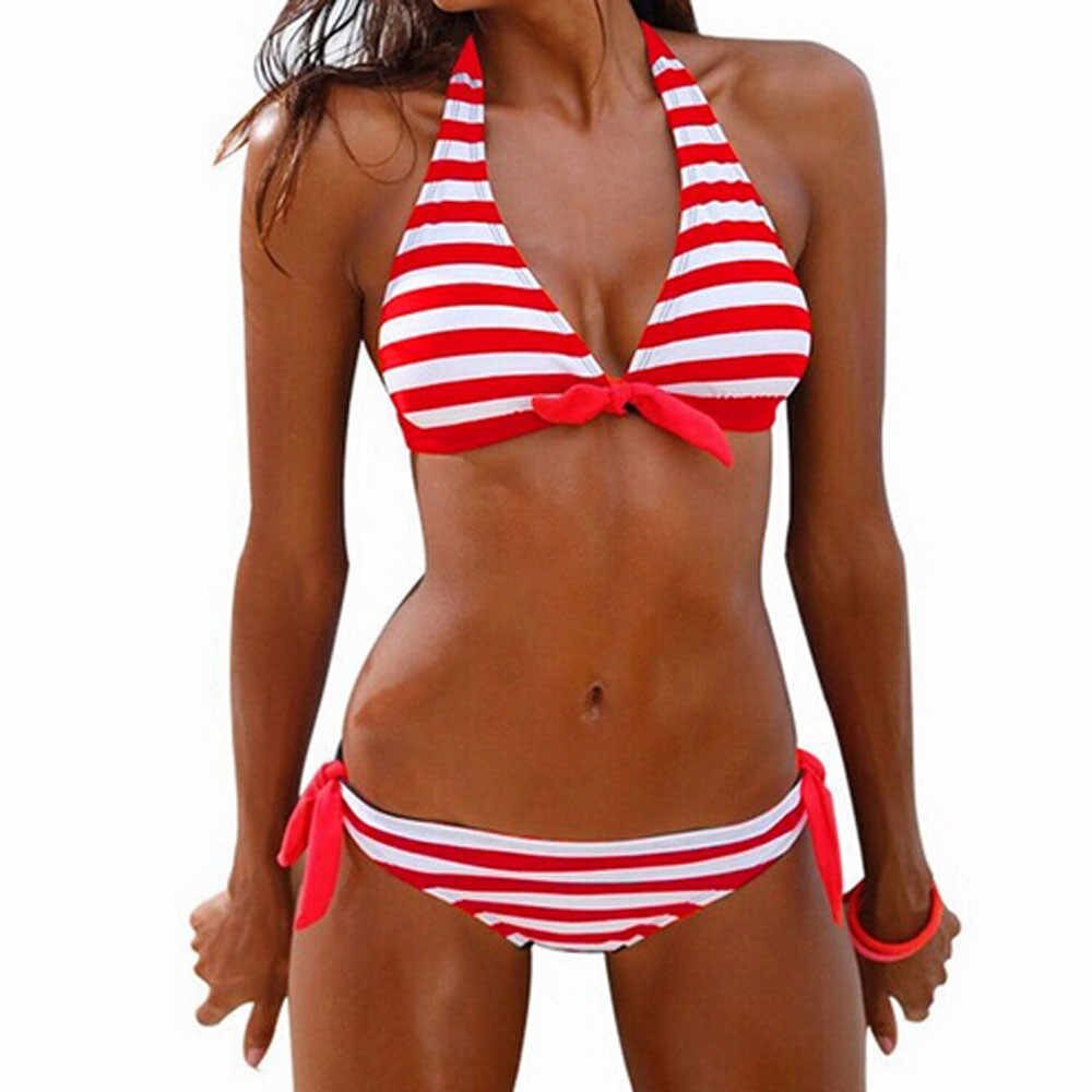 Nautical Striped Tie Front Bikini Red Front 2