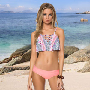 Plunging Neckline Ruffle Print Bikini Top with Laces