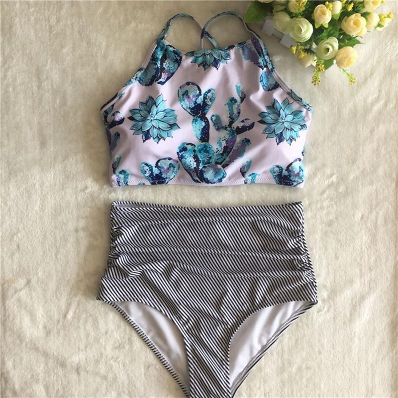 Plus Size Floral High Neck Tie Back Bikini 13