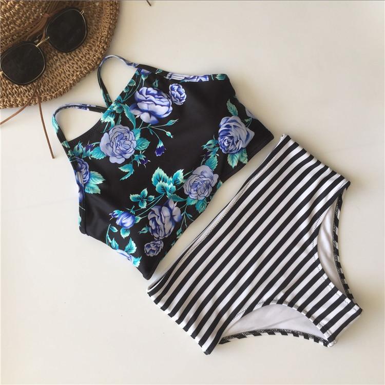Plus Size Floral High Neck Tie Back Bikini 17
