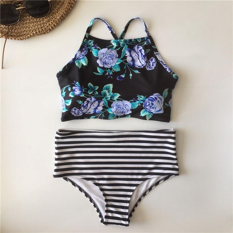 Plus Size Floral High Neck Tie Back Bikini 18