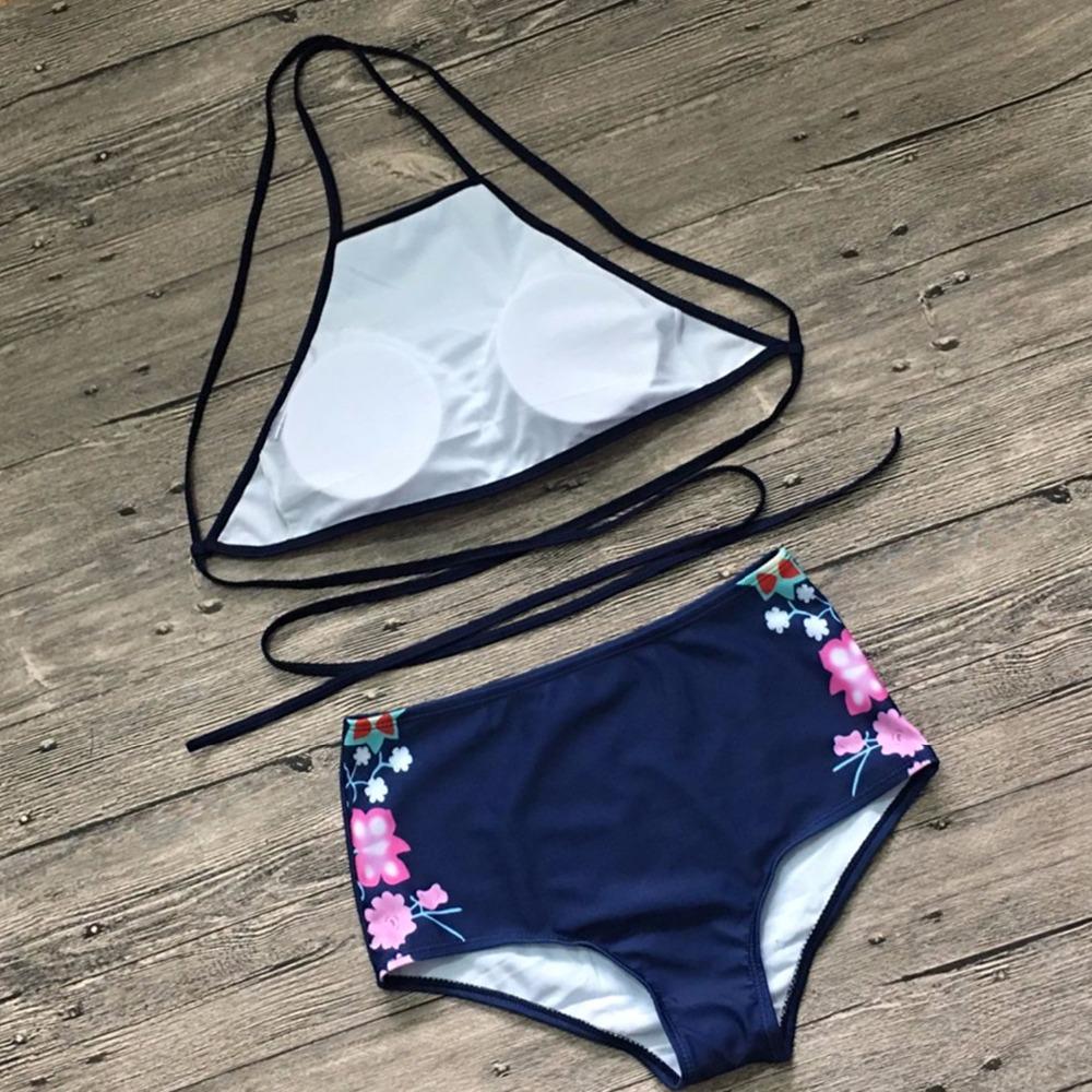 Plus Size Floral High Neck Tie Back Bikini 4