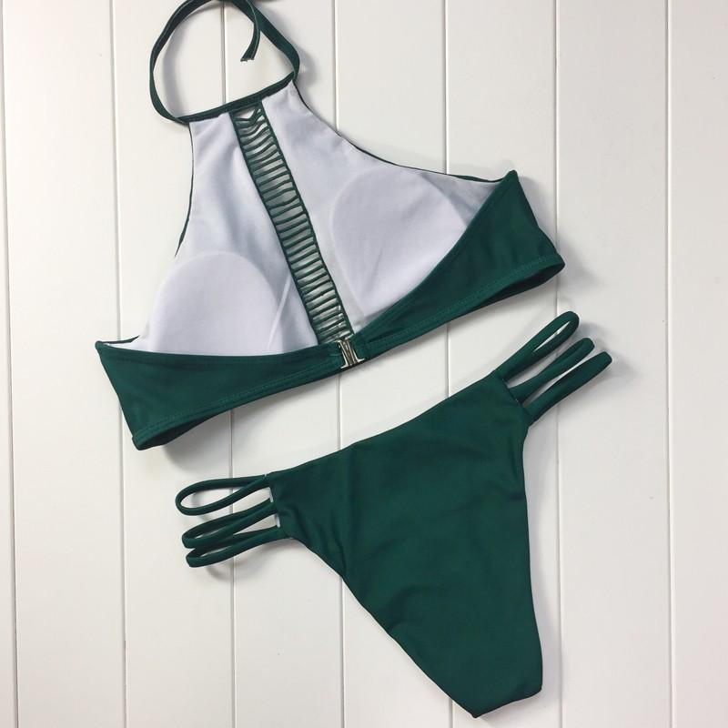Sexy Lace Top High Neck Low Waist Thong Bikini 5