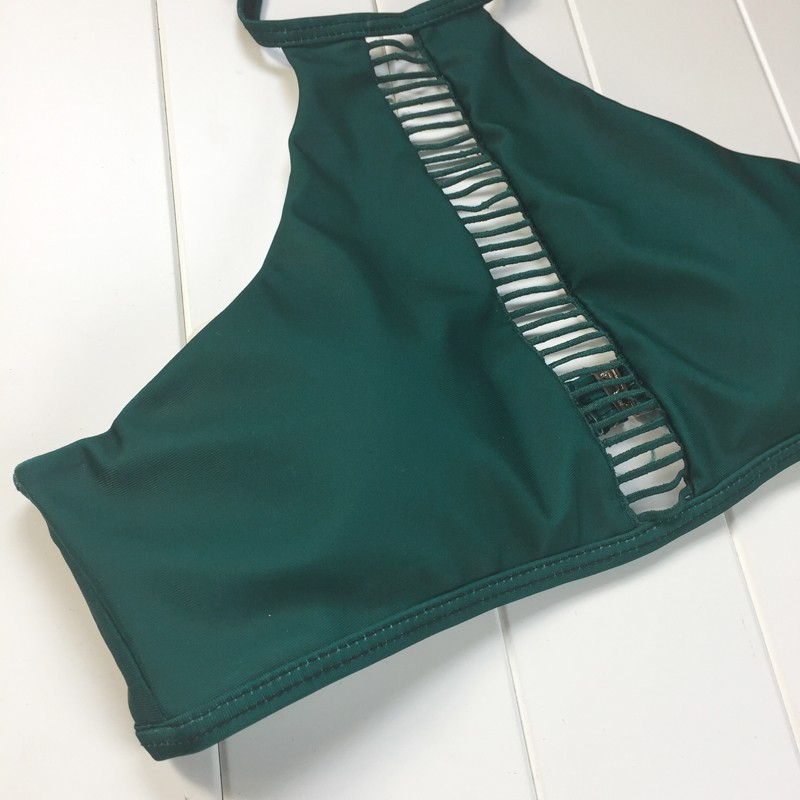 Sexy Lace Top High Neck Low Waist Thong Bikini 6