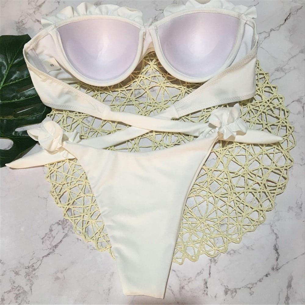 Solid Ruffle Bandeau Bikini White Bikini Back