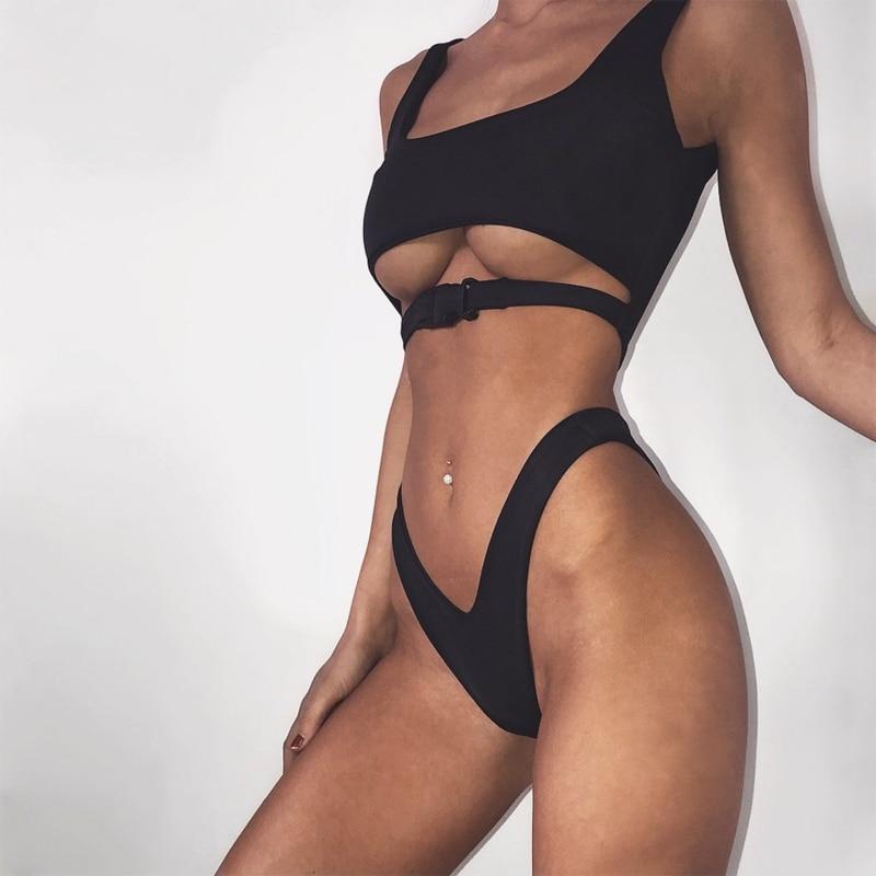 V bottom high cut bikini 2019 Buckle sexy swimsuit push up bathers Bandeau swimwear women bathing suit leopard micro bikini new 14