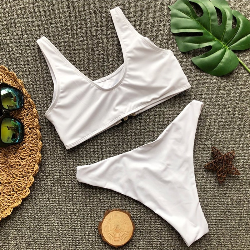 V bottom high cut bikini 2019 Buckle sexy swimsuit push up bathers Bandeau swimwear women bathing suit leopard micro bikini new 41
