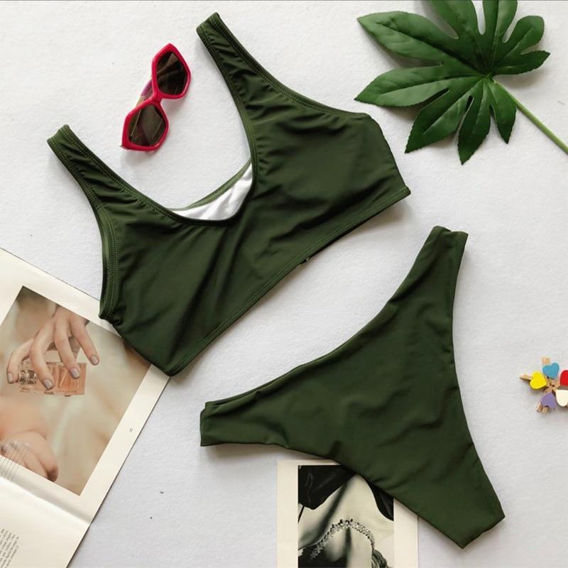 V bottom high cut bikini 2019 Buckle sexy swimsuit push up bathers Bandeau swimwear women bathing suit leopard micro bikini new 45